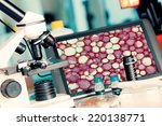 test biopsy c on microscope for ... | Shutterstock . vector #220138771