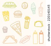 vector hand drawn fast food | Shutterstock .eps vector #220140145