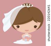 bride in kawaii style. gradient ... | Shutterstock .eps vector #220142641