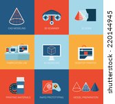 flat icons set 3d technology... | Shutterstock .eps vector #220144945