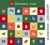 set of cute christmas icons for ... | Shutterstock .eps vector #220153159