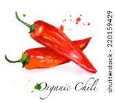 beautiful red pepper. hand... | Shutterstock .eps vector #220159429