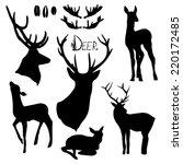 deer silhouettes set. hand... | Shutterstock .eps vector #220172485