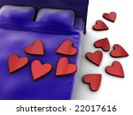 3d illustration of bed with red symbolic hearts - stock photo