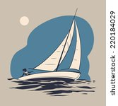 girl riding on a sailing boat... | Shutterstock .eps vector #220184029