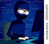 hacker man typing on computer... | Shutterstock .eps vector #220191691