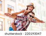 happy loving couple. happy... | Shutterstock . vector #220193047