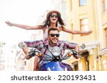 riding scooter together.... | Shutterstock . vector #220193431