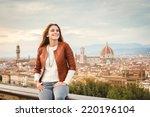 beautiful girl impressed view... | Shutterstock . vector #220196104