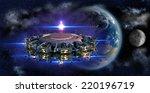 alien mothership ufo nearing... | Shutterstock . vector #220196719