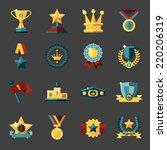 award icons set of trophy medal ...