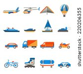 transport icons set with ship... | Shutterstock .eps vector #220206355