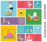 people in gym sport workout... | Shutterstock .eps vector #220207684