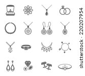 jewelry black icons set of... | Shutterstock .eps vector #220207954