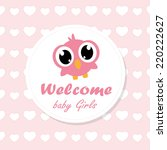 baby girl announcement card.... | Shutterstock .eps vector #220222627