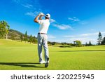 golfer hitting golf shot with... | Shutterstock . vector #220225945
