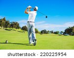 golf player teeing off. man... | Shutterstock . vector #220225954