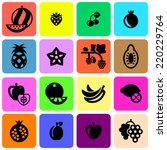 fruits icons set  | Shutterstock .eps vector #220229764