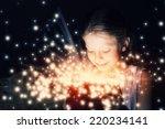 happy surprised girl opening... | Shutterstock . vector #220234141