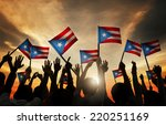 group of people waving flag of... | Shutterstock . vector #220251169