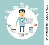 programmer working at a... | Shutterstock .eps vector #220257637