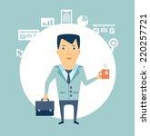 programmer drinking tea... | Shutterstock .eps vector #220257721