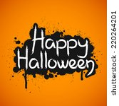 happy halloween card with... | Shutterstock .eps vector #220264201