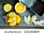 glass cup of warming ginger tea ... | Shutterstock . vector #220280809