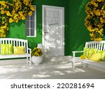 front view of white door on a... | Shutterstock . vector #220281694