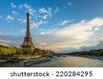 beautiful sunset over eiffel...   Shutterstock . vector #220284295