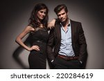 elegant couple smiling and... | Shutterstock . vector #220284619