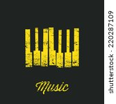 Music piano keyboard. Can be used as poster element or icon. Vector illustration. Keys without texture included in hidden layer.