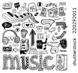 music doodle collection  hand... | Shutterstock . vector #220292011