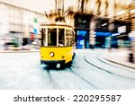 tram moving in the city center   Shutterstock . vector #220295587