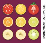 vector fruit icon set | Shutterstock .eps vector #220298431