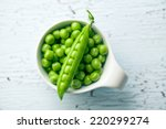 Fresh Green Peas On Old Cracked ...