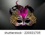Carnival Mask With Pink Feathe...