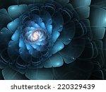 Blue Fractal Flower  Digital...