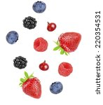 berries mix isolated on white | Shutterstock . vector #220354531