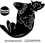 cute dog with a ball  black... | Shutterstock .eps vector #220369549