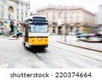 tram moving in the city center   Shutterstock . vector #220374664