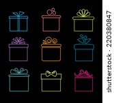set of nine icons of gift boxes ... | Shutterstock .eps vector #220380847