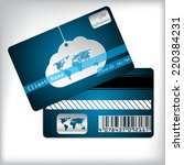 loyalty card design with cloud... | Shutterstock .eps vector #220384231