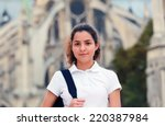 Stock photo beautiful student girl in the city 220387984
