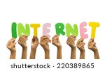 multiple hands holding the word ... | Shutterstock . vector #220389865