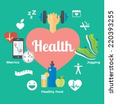 healthy life concept flat icons ... | Shutterstock .eps vector #220393255