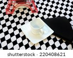 white square coffee cup on... | Shutterstock . vector #220408621