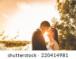 just married couple and sunset... | Shutterstock . vector #220414981
