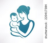 mother and baby stylized vector ... | Shutterstock .eps vector #220417384