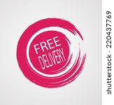 free delivery grunge red vector ... | Shutterstock .eps vector #220437769